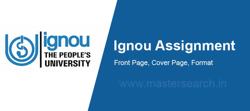 Ignou Assignment Cover Page