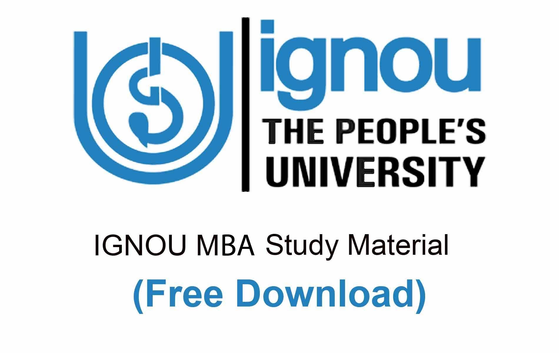 Ignou MBA Study Material free download