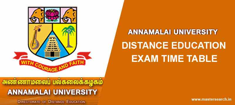 Annamali University Distance Education Time Table