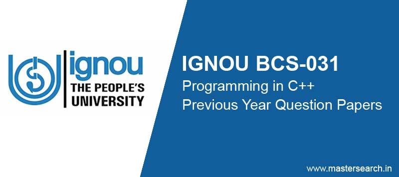 IGNOU BCS-031 Question Paper Previous Year (BCA)