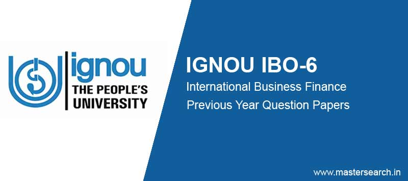Ignou IBO 6 Question Paper free download